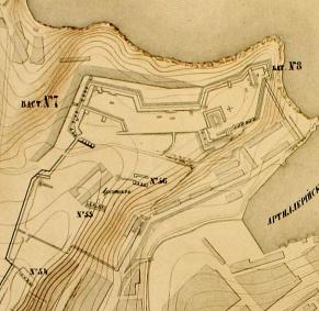 1 Укрепления на западном берегу Артиллерийской бухты. С плана Э.И. Тотлебена. 1855